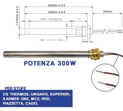 Candeletta 12,5 mm 185 mm Diam Resistenza accensione L 400 Watt bruciatori caldaie per stufe a pellet NORDICA EXTRAFLAME