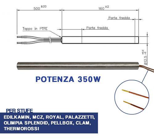 candeletta accensione stufa pellet resistenza d 12 5 x 170