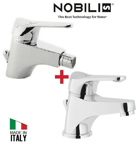 COPPIA MISCELATORI NOBILI LAVABO BIDET RUBINETTI SERIE ITALIA CON PILETTA 11860