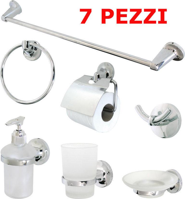 Accessori Per Il Bagno Acciaio.Set Kit Accessori Bagno 7 Pezzi Ceramica Bianca Satinata Acciaio Cromato