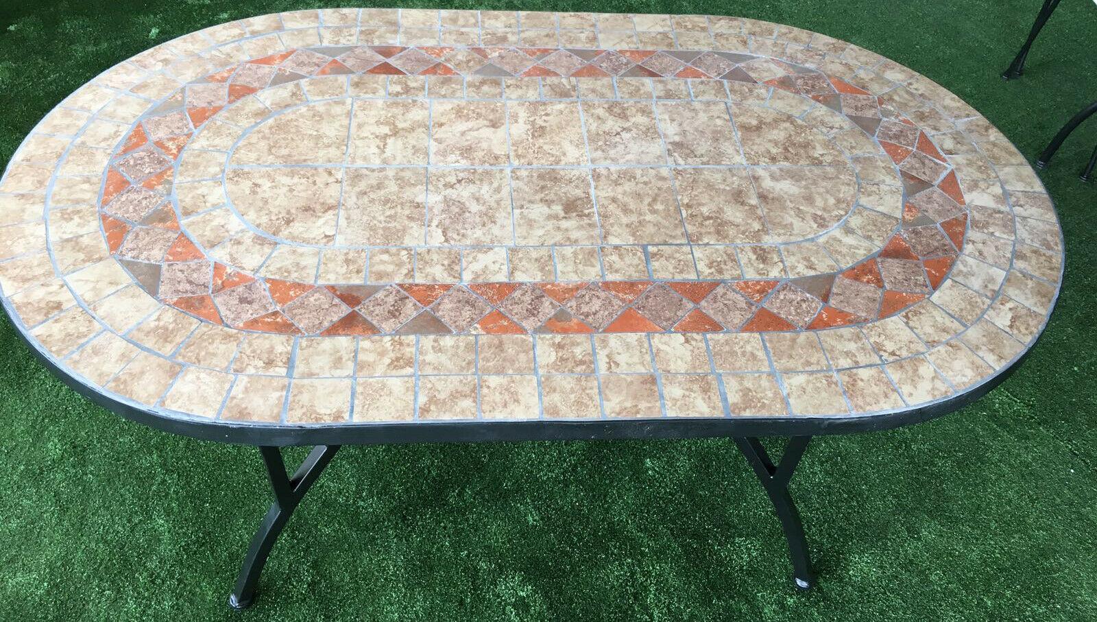 Tavolo Da Giardino Mosaico.Tavolo Da Giardino Ovale Con Mosaico Base In Acciaio Robusto Cm 150x90x745