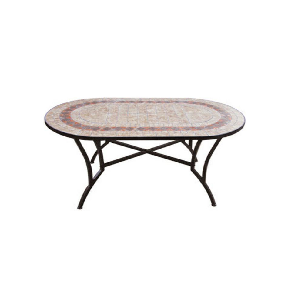 Tavolo Da Giardino Ovale Con Mosaico Base In Acciaio Robusto Cm 150x90x745 32466