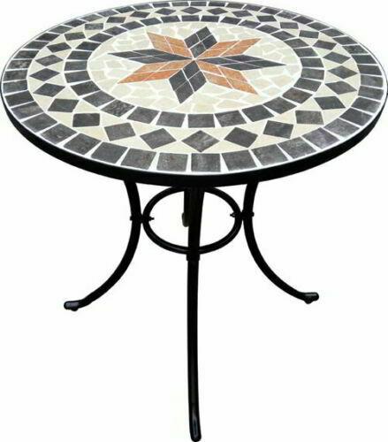 Tavolo In Ferro Per Esterno.Tavolo Da Giardino Rotondo In Ferro Battuto Con Mosaico D 60 Cm